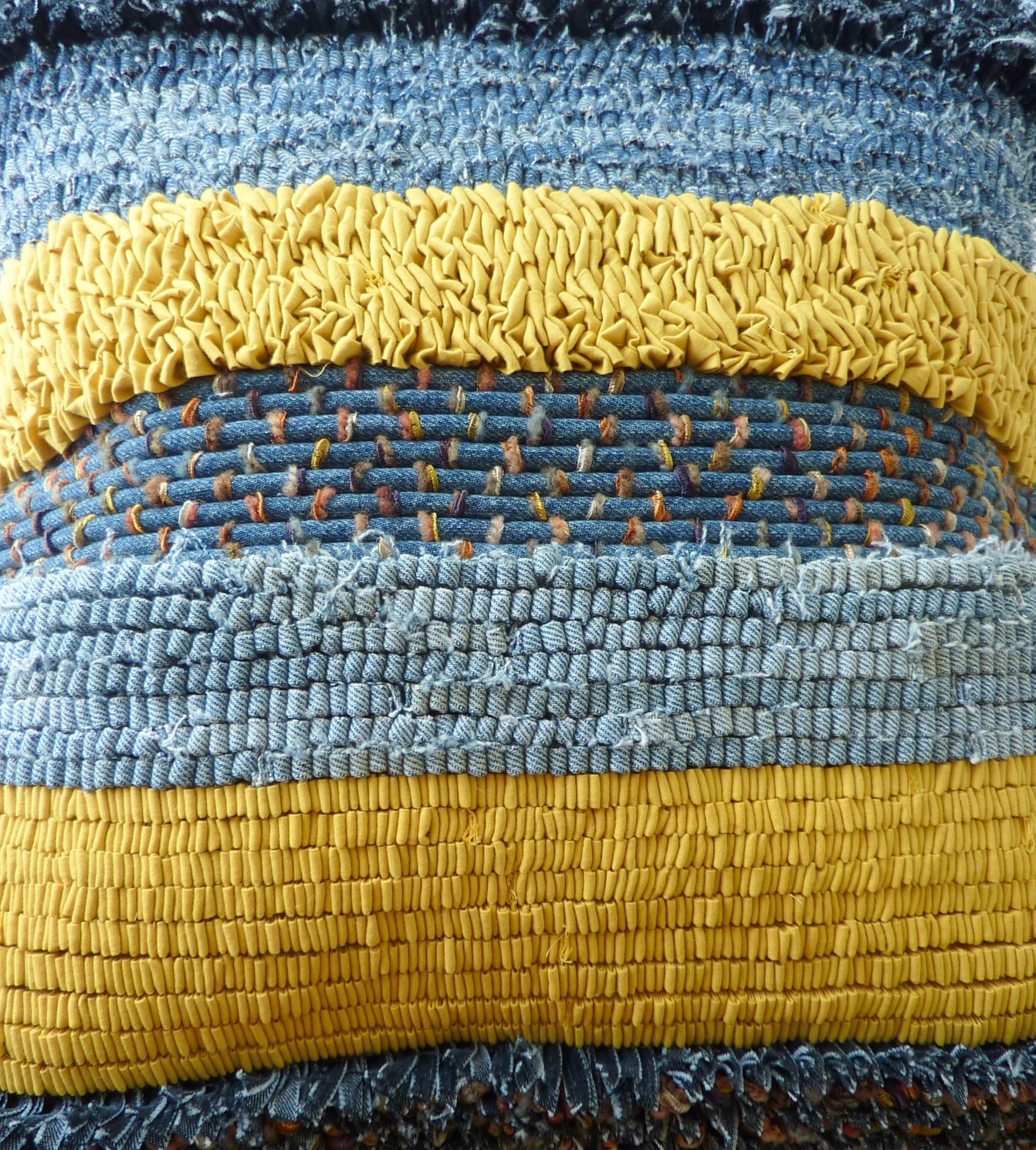 Fire Horse Textiles: Rag Rug, Recycled Denim Cushion