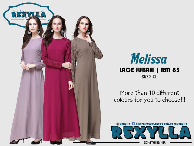 rexylla, joint lace, jubah, melissa collection