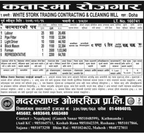 Jobs For Nepali In Qatar, Salary -Rs.1,00,000/
