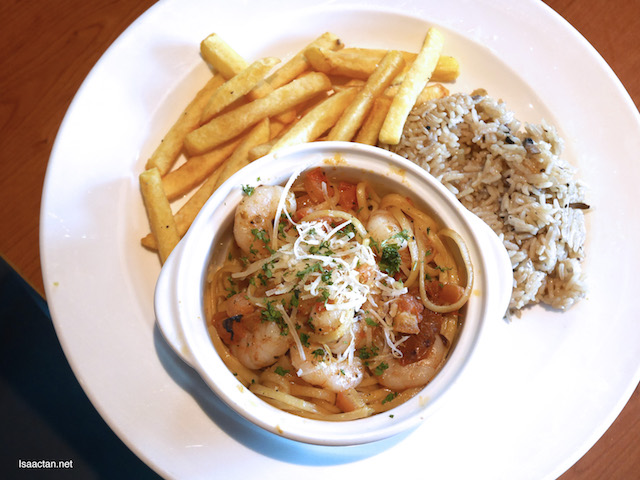 Shrimp Scampi Pasta served with mushroom rice, french fries and vegetable medley