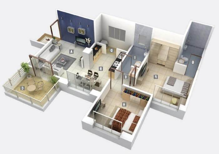 2+1 müstakil ev planı
