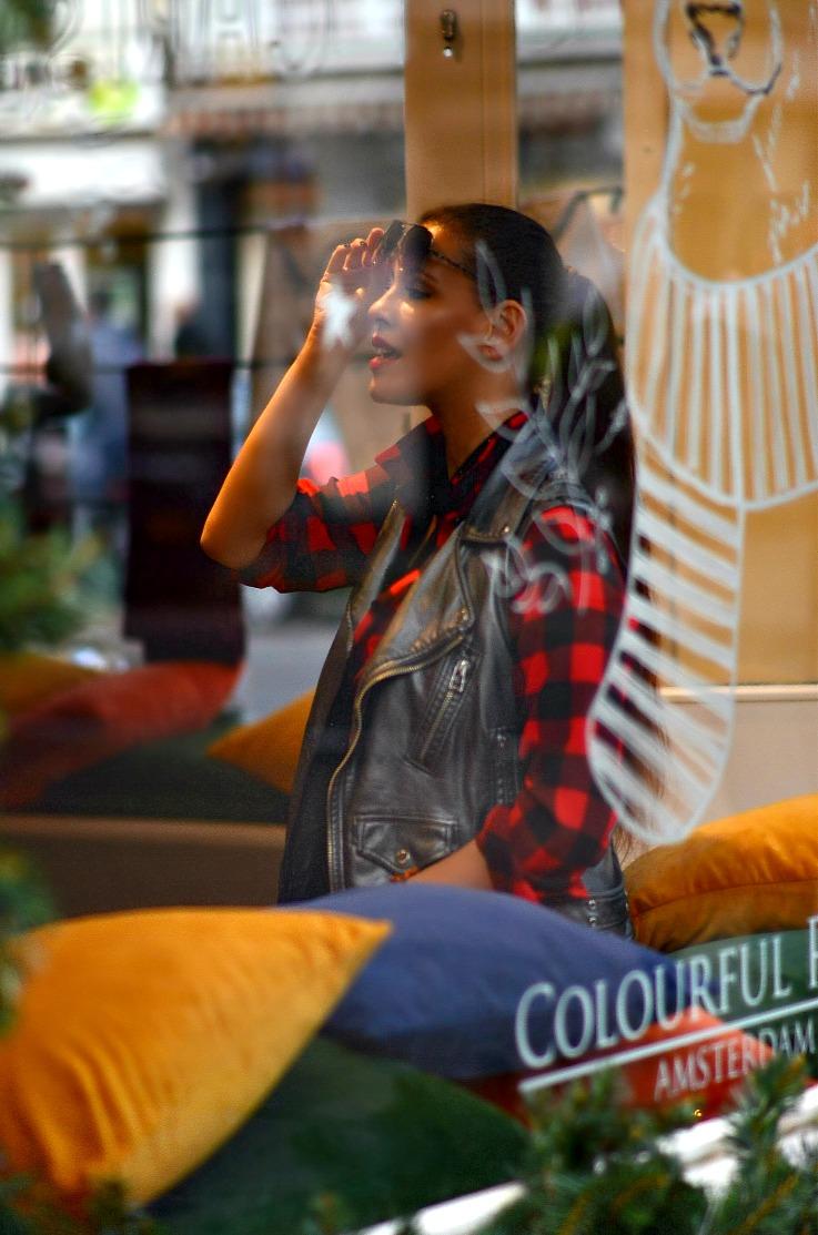 Red Plaid shirt, Supertrash Moto jacket, Zara Fringe ankle boots, Tamara Chloé, TC Style Clues, Michael Kors Selma bag, Amsterdam, blogger, Colourful Rebel