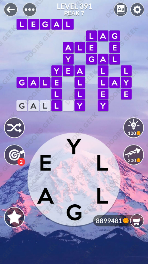 Wordscapes Level 391 answers, cheats, solution for android and ios devices.