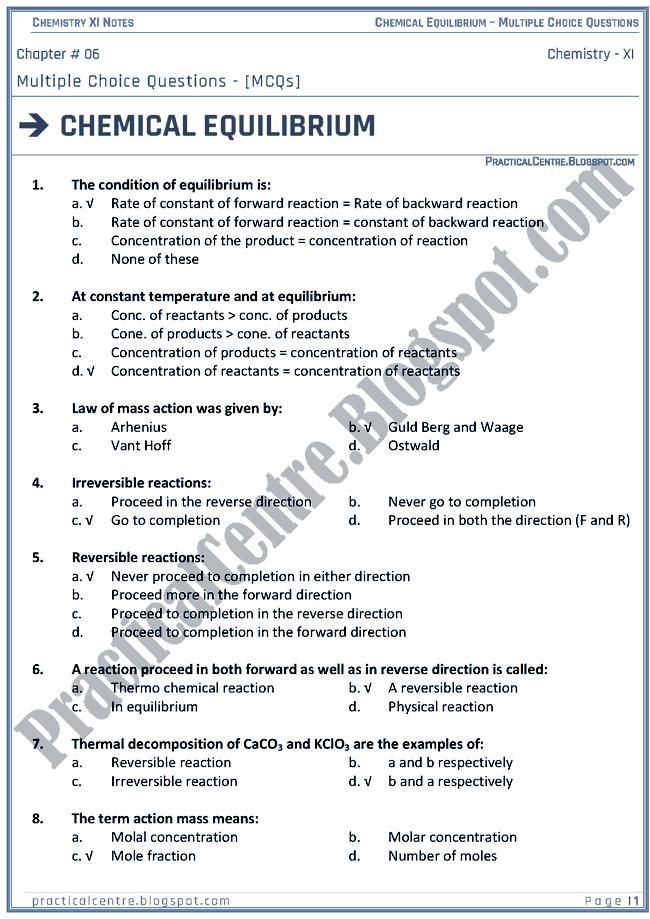 Practical Centre: Chemical Equilibrium - MCQs - Chemistry XI