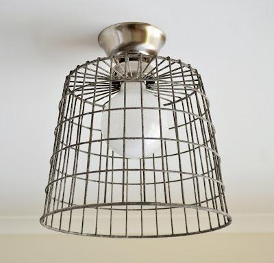 Diy repurposed basket ceiling light the painted hive - Diy ceiling light fixtures ...