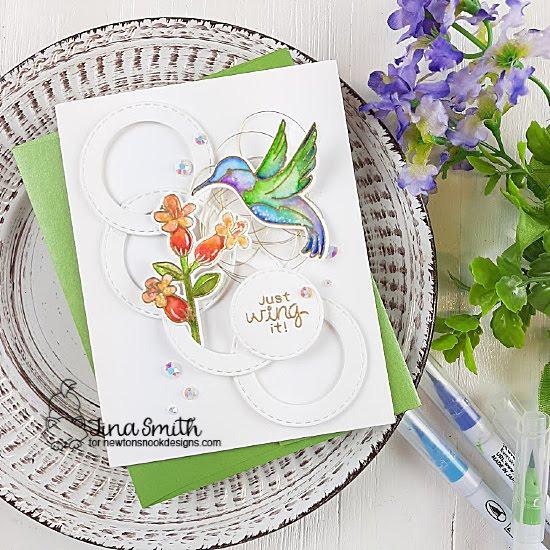 Hummingbird Card by Tina Smith   Hummingbird Stamp Set and Circle Frames Die Set by Newton's Nook Designs #newtonsnook #handmade
