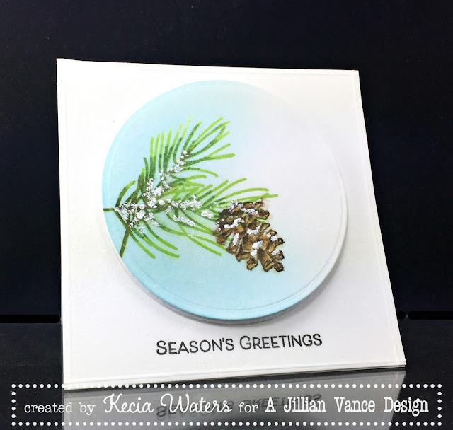 AJVD, Kecia Waters, pine branches, Season's Greetings, Christmas, Distress Inks