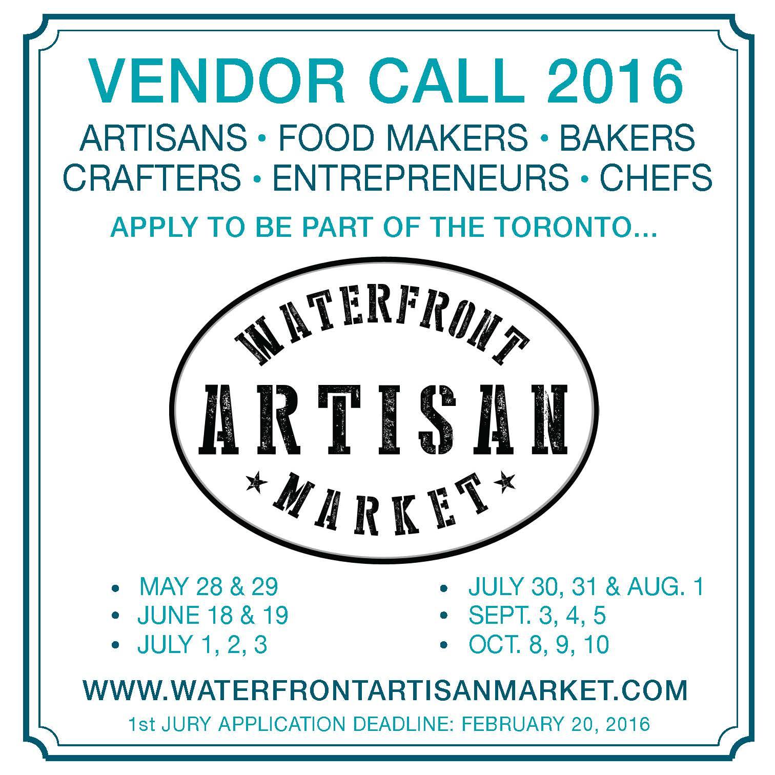 Toronto Etsy Street Team: Vendor Call: Waterfront Artisans Market