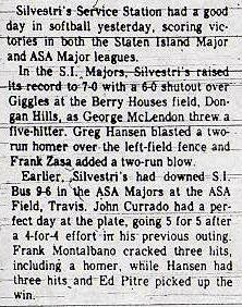 Silvestri's wins ASA Major Division June 2, 1980
