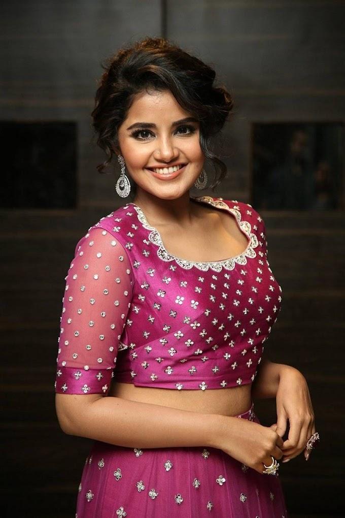 Anupama Parameswaran in pink dress photo shoot.
