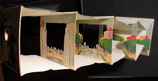 The accordion book from a side angle.