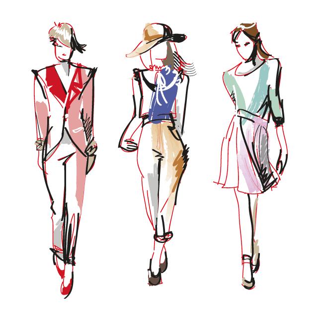 Bocetos de Moda con modelos femeninas