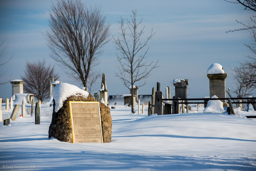 Portland, Maine February 2016 Eastern Cemetery on Congress Street. Photo by Corey Templeton.