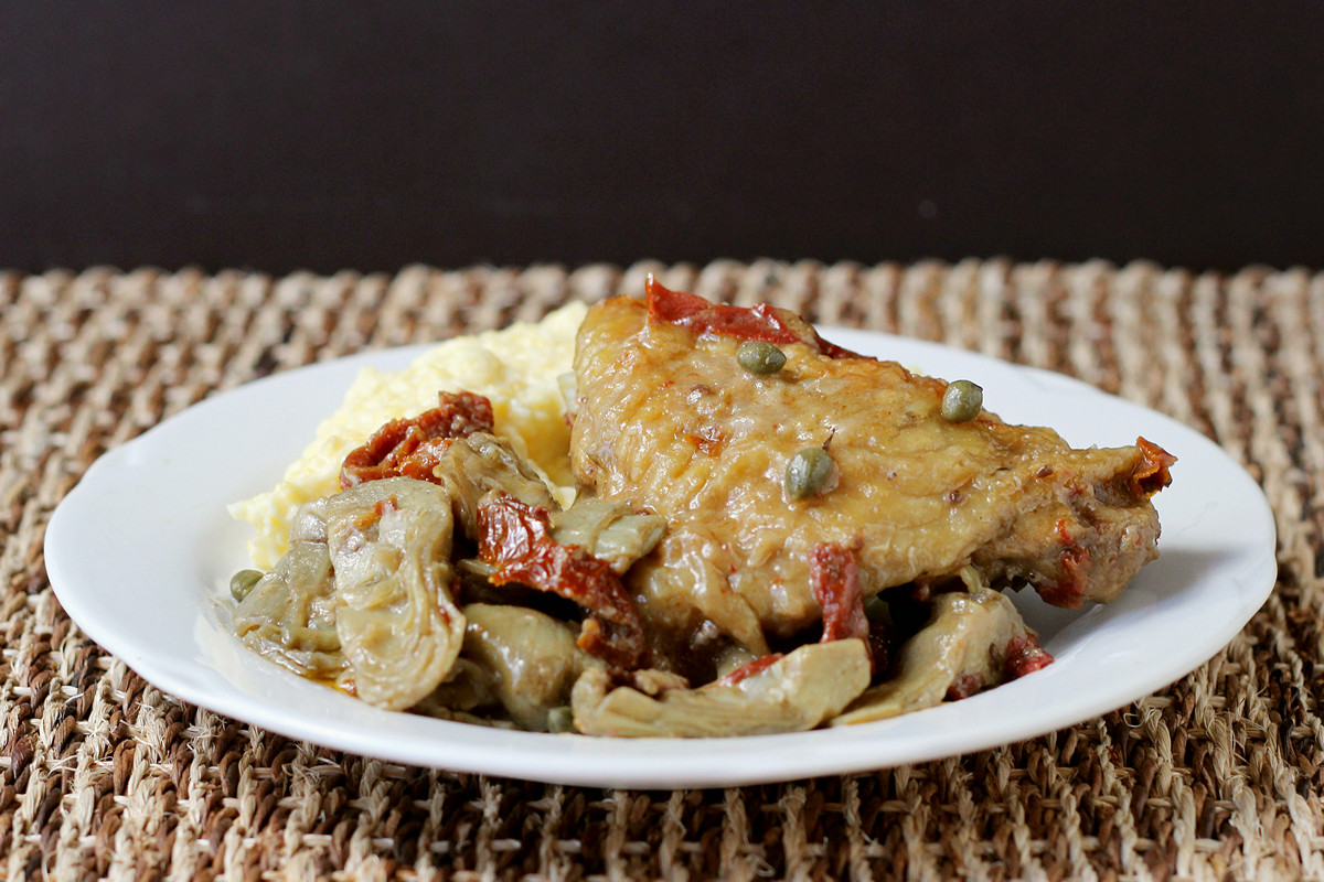 White Wine Chicken with Artichokes and Tomatoes, with Golden New Potato Coins