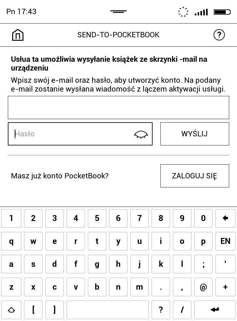 PocketBook Touch Lux 4 – ekran logowania do usługi Send-to-PocketBook