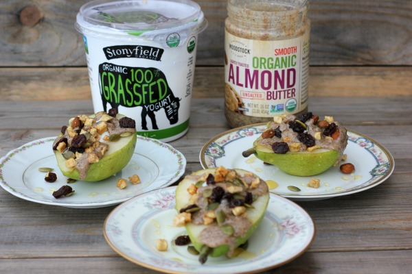 Pears Stuffed with yogurt, almond butter and granola