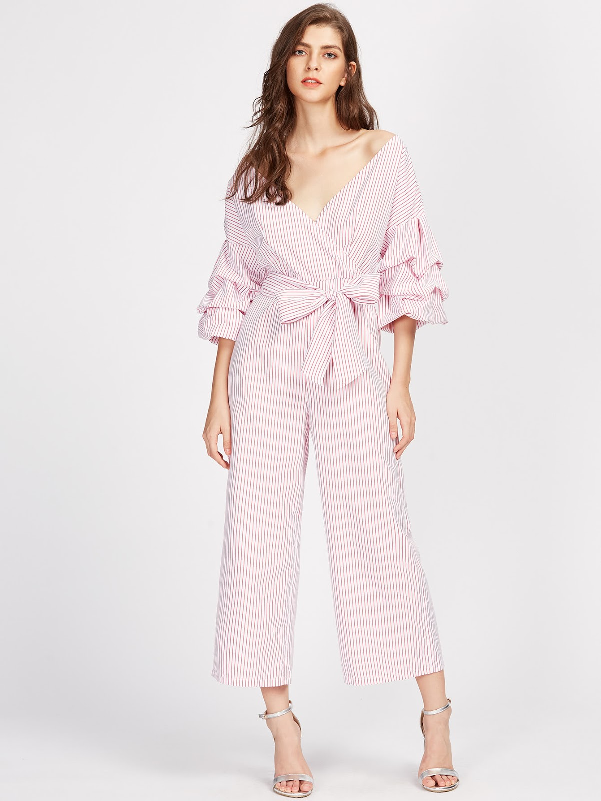 Drop Shoulder Gathered Sleeve Surplice Wrap Pinstripe Jumpsuit