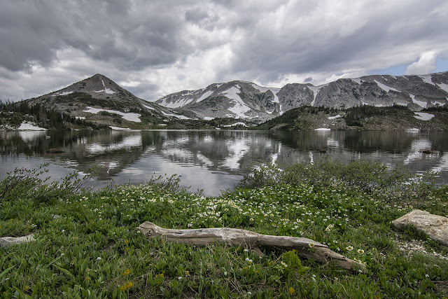 Lewis lake medicine bow national forest Wyoming with wildflowers