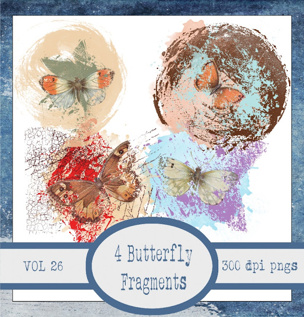 Butterfly Fragments Vol 26 Collage Sheet