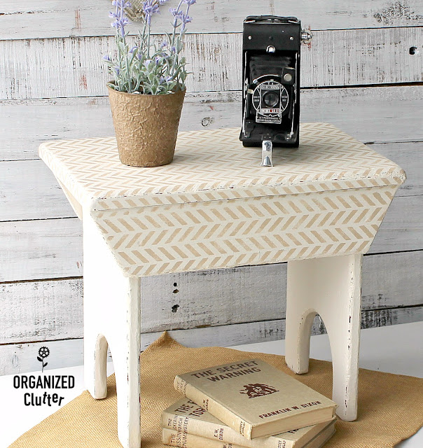 Upcycling A Stool With Paint And A Herringbone Stencil #herringbone #dixiebellepaint #stencil #upcycle