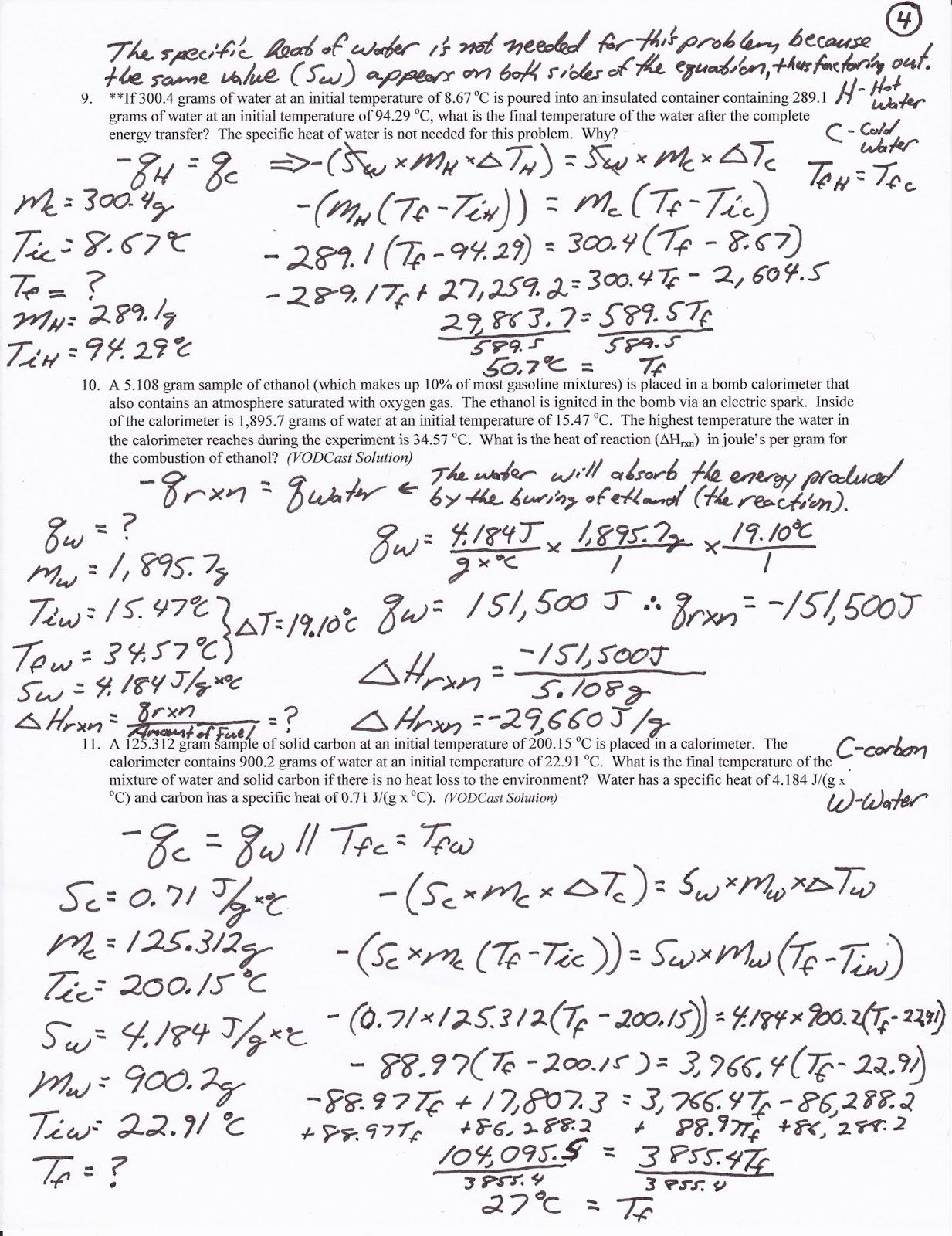 Calorimetry Worksheet Answers - Breadandhearth