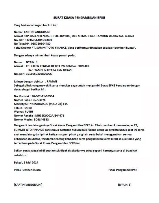Surat kuasa pengambilan BPKB