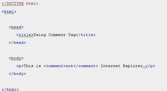 HTML Using Comment Tag