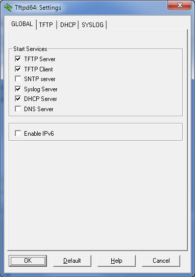 TFTPD64, Abilitazione server DHCP e TFTP