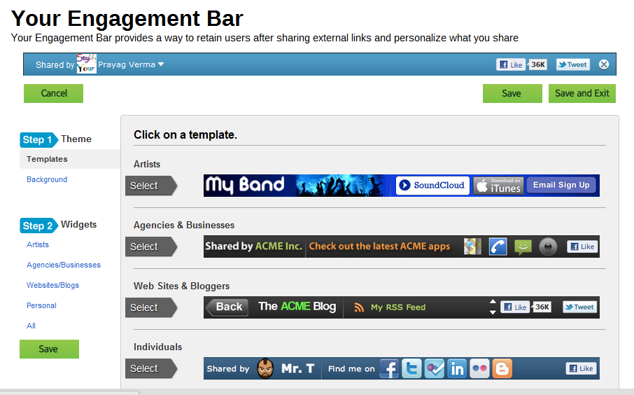 Visibli Engagement Bar Themes and Widgets