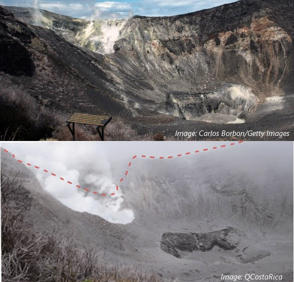 Modification du cratère actif du volcan Turrialba par l'explosion du 29-30 octobre 2014