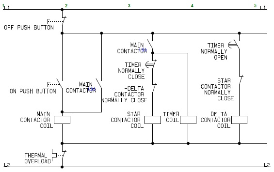 Control Circuit of a Star Delta or Wye Delta Electric Motor