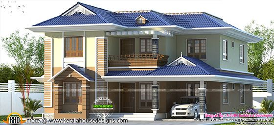 Blue color sloping roof Kerala home design