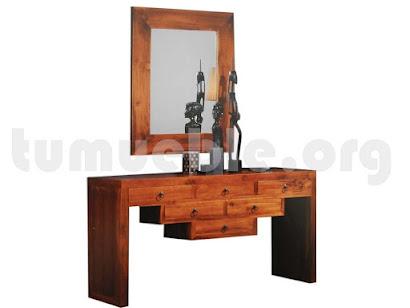 consola 6 cajones con marco espejo en teca 4128+4125