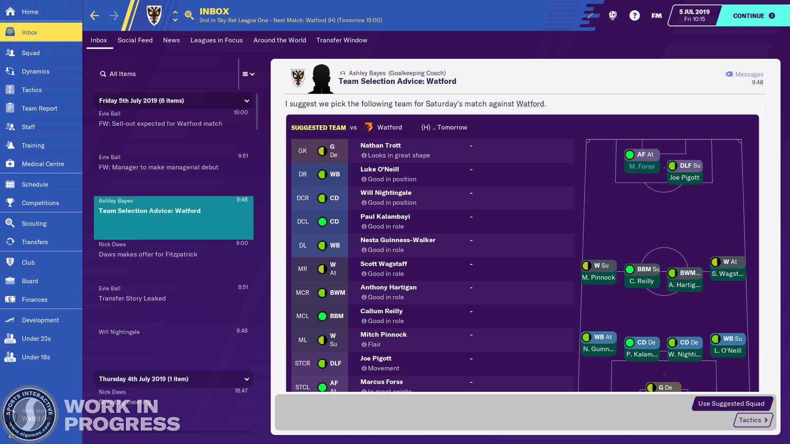 A news item containing team selection advice in Football Manager 2020