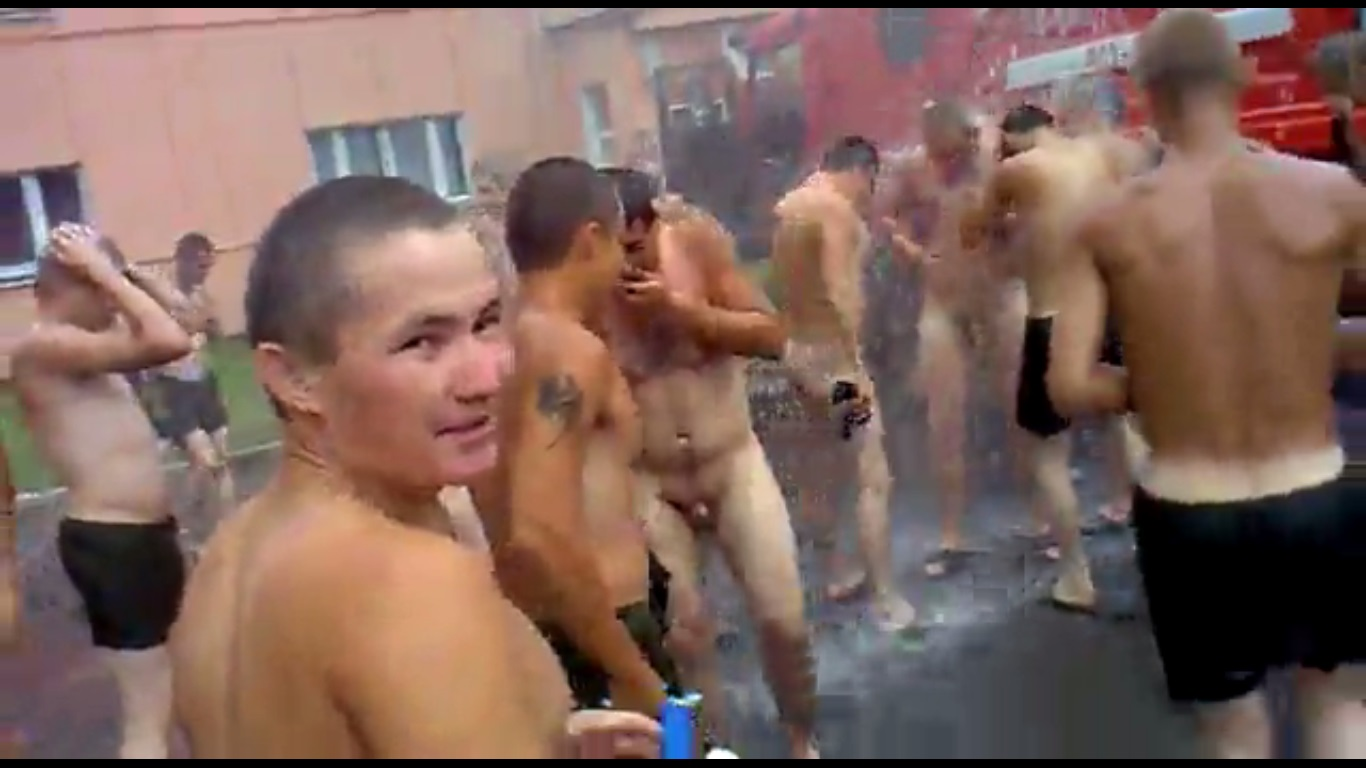 Men going to dorm shower naked