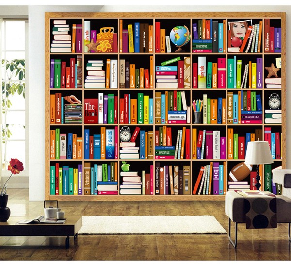Kirjahylly Tapetti valokuvatapetti kirjoja Tapettikirja kirjahylly taustakuva 3d kirjasto-lounge