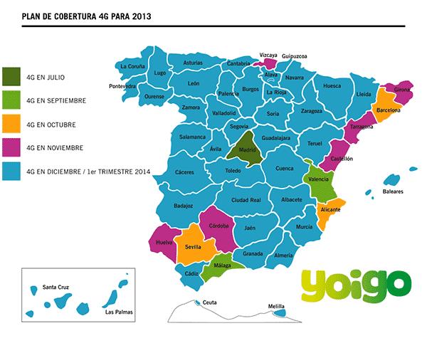 4G YOIGO en Granada, Navarra, Palencia y Lleida