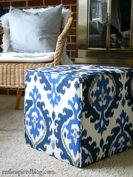 What I'm Loving Right Now: Ikat. Incorporate this trend into your home with a blue and gray ikat ottoman!