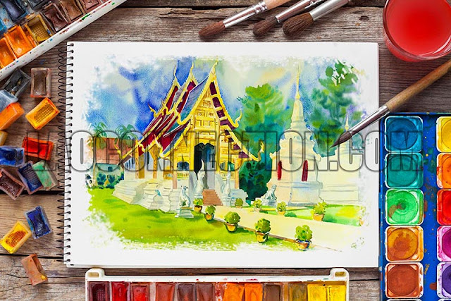 Buddhist Temple Watercolor Painting