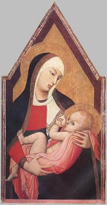 Imagen de la virgen amamantando al niño