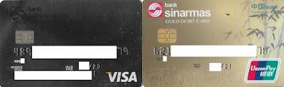 Kartu Kredit Visa Platinum (Kiri) dan Kartu Debit UnionPay Gold (kanan) Bank Sinarmas