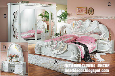 Wooden Full Bedroom Furniture In White Color