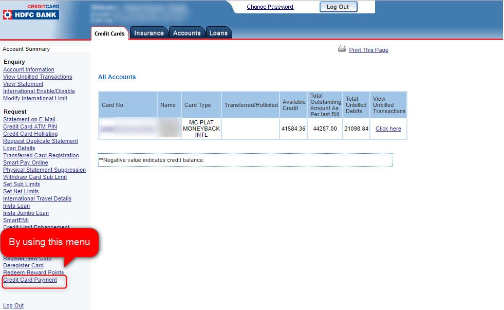 hdfc credit card payment through neft address