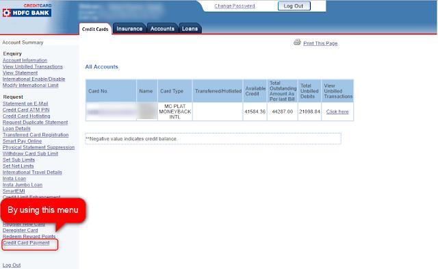 HDFC Net banking Interface - Techrajput