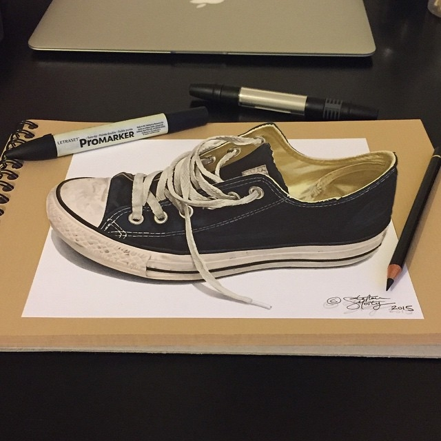05-Trainers-Stephan-Moity-2D-Drawings-Optical-Illusions-made-to-Look-3D-www-designstack-co