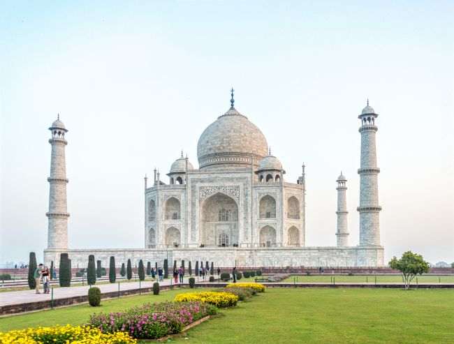Taj Mahal with gardens in front
