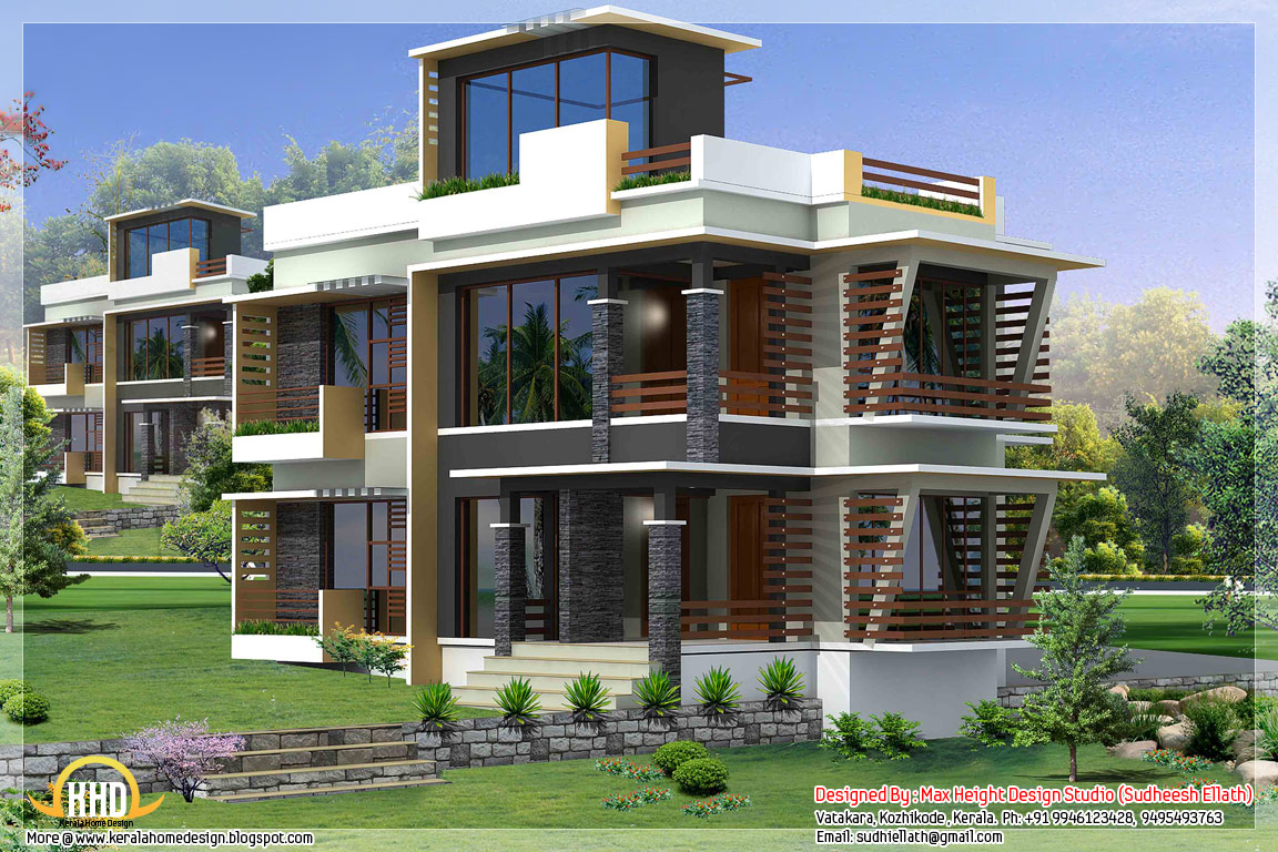 3 different indian house elevations home appliance for Modern triplex house designs