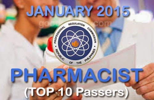 Top 10 Pharmacist Licensure Examination Passers (January 2015)