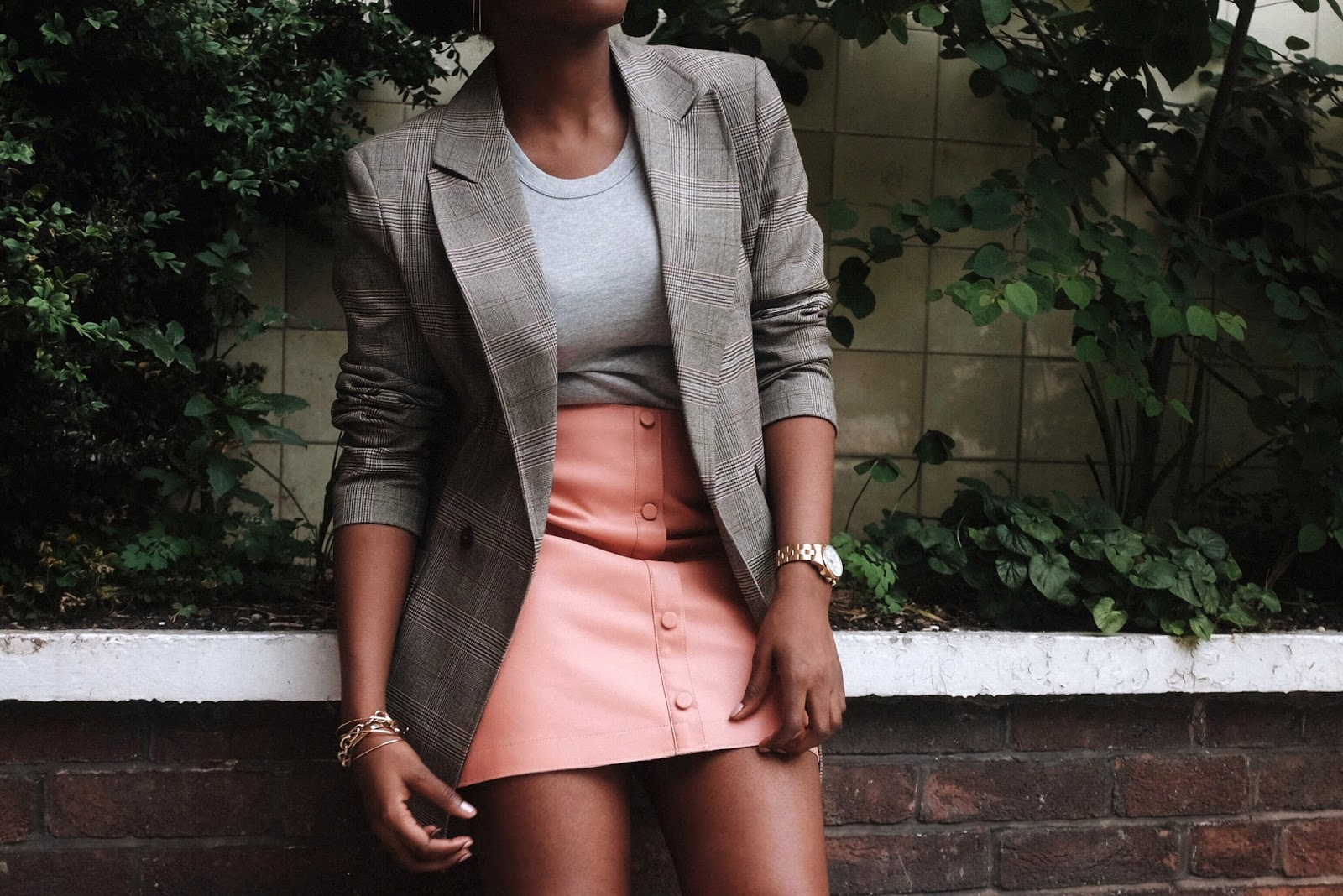Checked Topshop Blazer, Grey River Island Bodysuit, Blush Pink Leather Look River Island A-Line Mini Skirt, White Superga 2750 Trainers