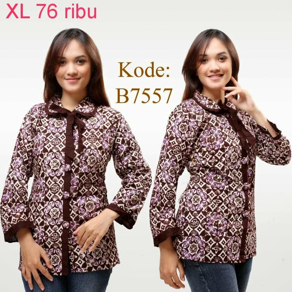 Model Baju Batik Lengan Panjang Modern: Baju Batik Wanita Modern Lengan Panjang